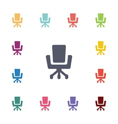 office chair flat icons set vector image