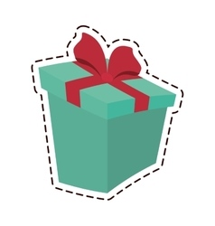 round gift box ribbon festive color cut line vector image vector image