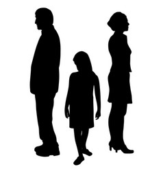 sad child standing between two divorcing parents vector image