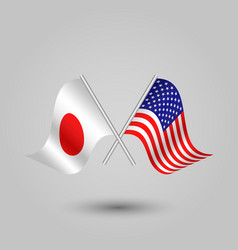two crossed japanese and american flags vector image