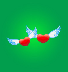 two hearts on a green background vector image