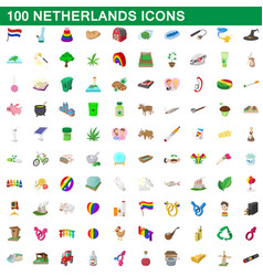 100 netherlands icons set cartoon style vector image