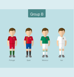2018 soccer or football team uniform group b vector image