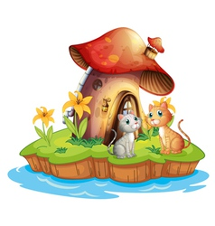 A mushroom house with two cats vector