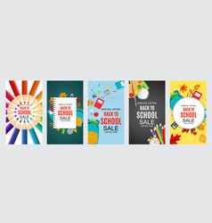 abstract back to school sale poster collection vector image