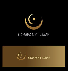 Abstract curve round point gold logo vector