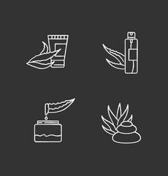Aloe vera chalk white icons set on black vector