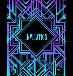 art deco vintage pattern in bright neon colors vector image