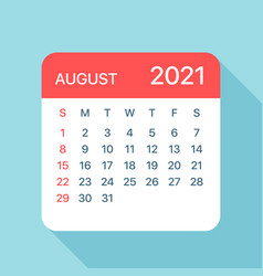 August 2021 calendar leaf vector