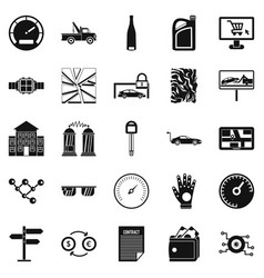 Autotravel icons set simple style vector