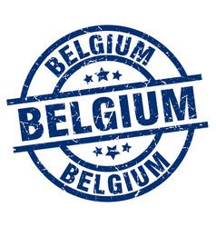 belgium blue round grunge stamp vector image