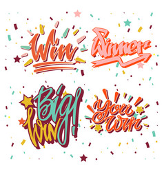 Big win winner text writing and lettering vector