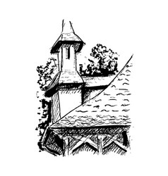 black and white village house sketched line art vector image