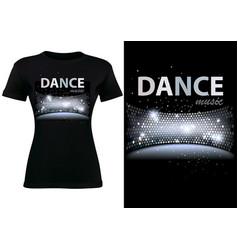 Black t-shirt design with disco dance theme vector