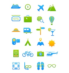 Blue green traveling icons set vector image