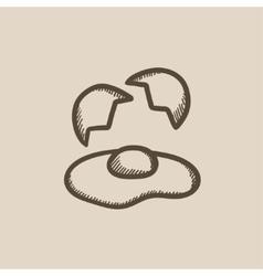 Broken egg and shells sketch icon vector