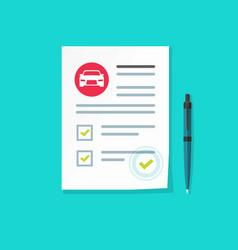 Car insurance document flat vector