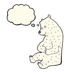 Cartoon happy polar bear with thought bubble vector