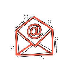 cartoon mail envelope icon in comic style email vector image