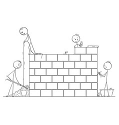 cartoon of group of masons or bricklayers vector image