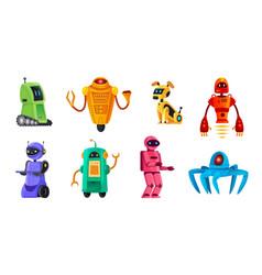 Cartoon robots robotics bots robot pet vector