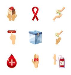 Charity icons set cartoon style vector
