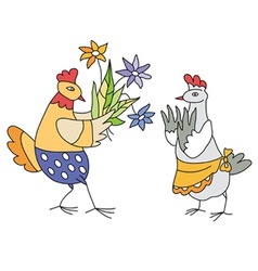 Chicken with flowers vector