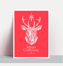 christmas poster with white low poly 3d styled vector image