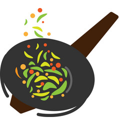 colored icon wok pan and fried vegetables vector image