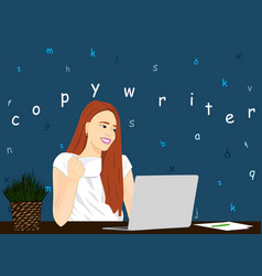 Copywriter girl working icon concept of vector