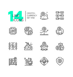 cryptocurrency - set of line design style icons vector image