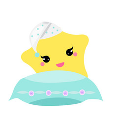 Cute baby star with pillow in hight hat vector