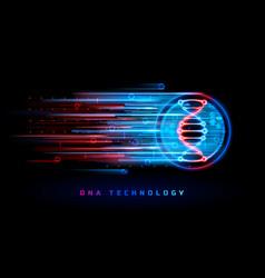 dna technology genetics medicine neon background vector image