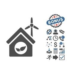 Eco House Building Flat Icon With Bonus vector image