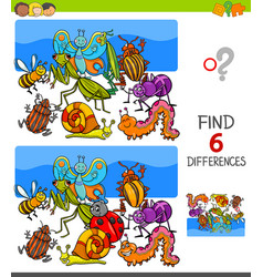 Finding differences game with insects characters vector