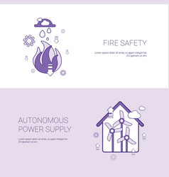Fire safety and autonomous power supply concept vector