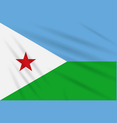 Flag djibouti swaying in wind realistic vector