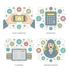 Flat line Accounting E-learning E-mail Marketing vector image