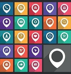 Flat pin icons set vector image