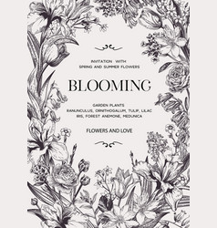 Floral wedding invitation with flowers vector