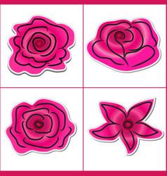 Flower pattern sticker pink on white background vector