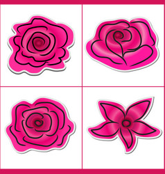 flower pattern sticker pink on white background vector image