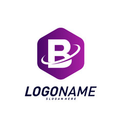 Font with planet logo design concepts letter b vector