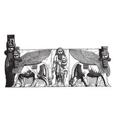 Gateway at khorsabad egypt vintage engraving vector