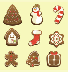 gingerbread icons vector image
