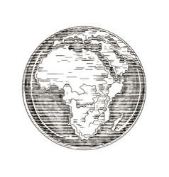 Globe outline drawing africa continent vector