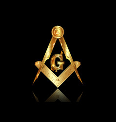 gold freemasonry emblem compass masonic square vector image