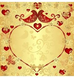 Gold valentine frame vector