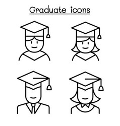 Graduate icon set in thin line style vector