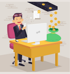 Happy businessman making money concept vector